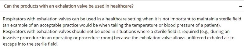带呼吸阀的N95口罩可用于医疗机构吗
